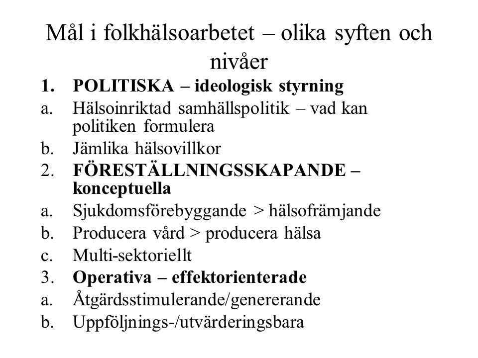 Mål i folkhälsoarbetet – olika syften och nivåer 1.POLITISKA – ideologisk styrning a.Hälsoinriktad samhällspolitik – vad kan politiken formulera b.Jäm