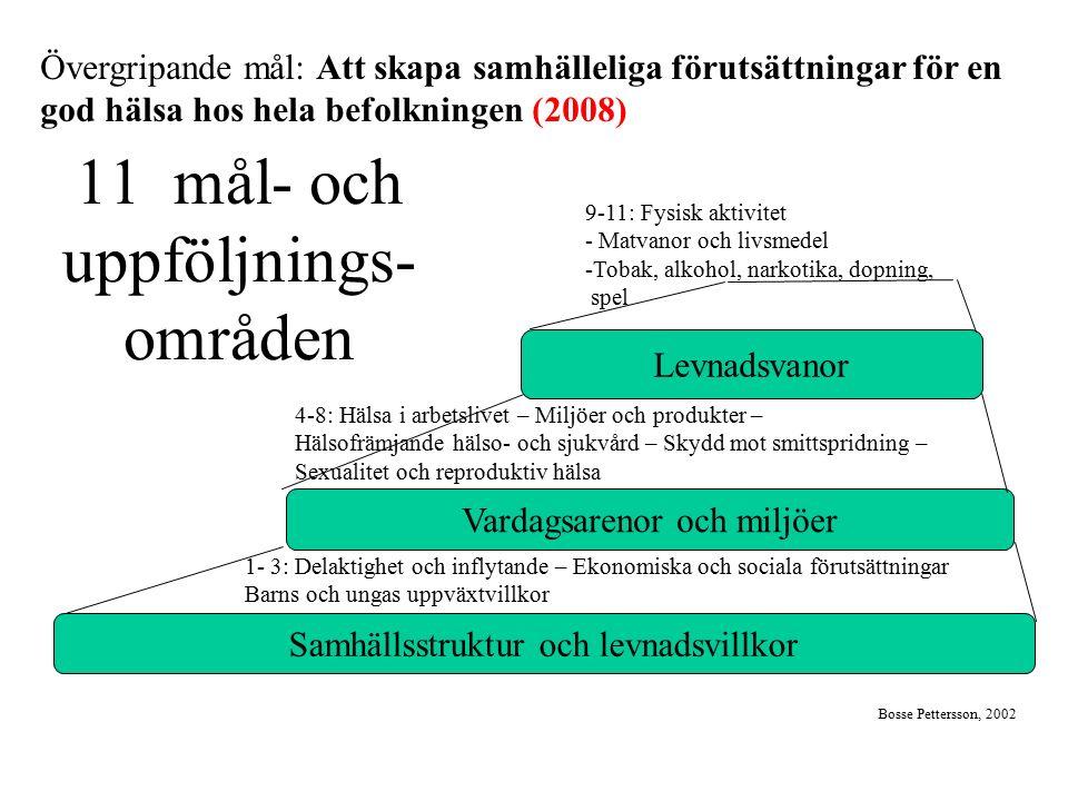 11 mål- och uppföljnings- områden Samhällsstruktur och levnadsvillkor Vardagsarenor och miljöer Levnadsvanor Bosse Pettersson, 2002 1- 3: Delaktighet
