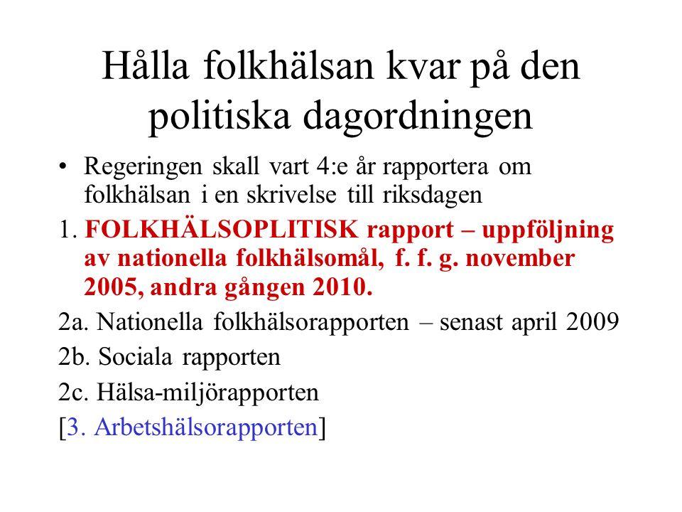 Hålla folkhälsan kvar på den politiska dagordningen Regeringen skall vart 4:e år rapportera om folkhälsan i en skrivelse till riksdagen 1. FOLKHÄLSOPL