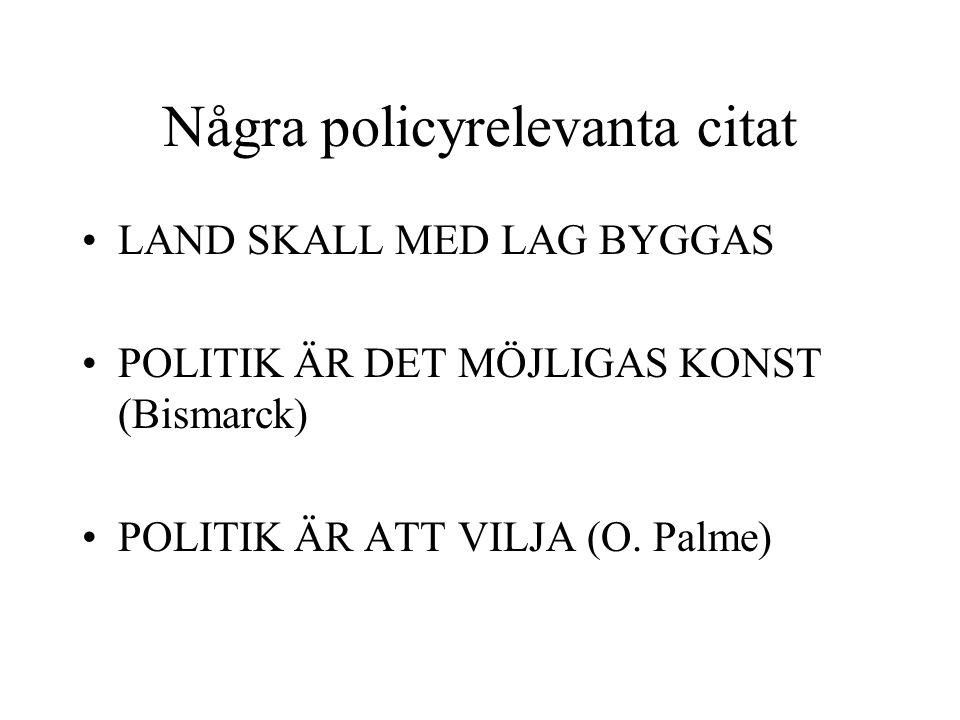 Några policyrelevanta citat LAND SKALL MED LAG BYGGAS POLITIK ÄR DET MÖJLIGAS KONST (Bismarck) POLITIK ÄR ATT VILJA (O. Palme)
