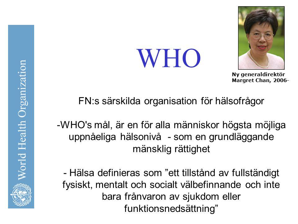 WHO FN:s särskilda organisation för hälsofrågor -WHO's mål, är en för alla människor högsta möjliga uppnåeliga hälsonivå - som en grundläggande mänskl