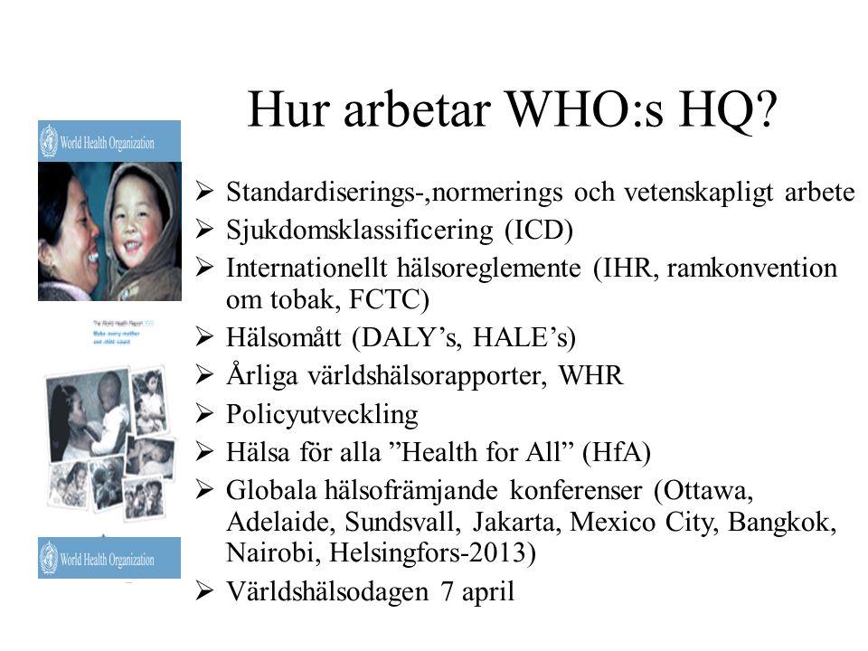Hur arbetar WHO:s HQ?  Standardiserings-,normerings och vetenskapligt arbete  Sjukdomsklassificering (ICD)  Internationellt hälsoreglemente (IHR, r