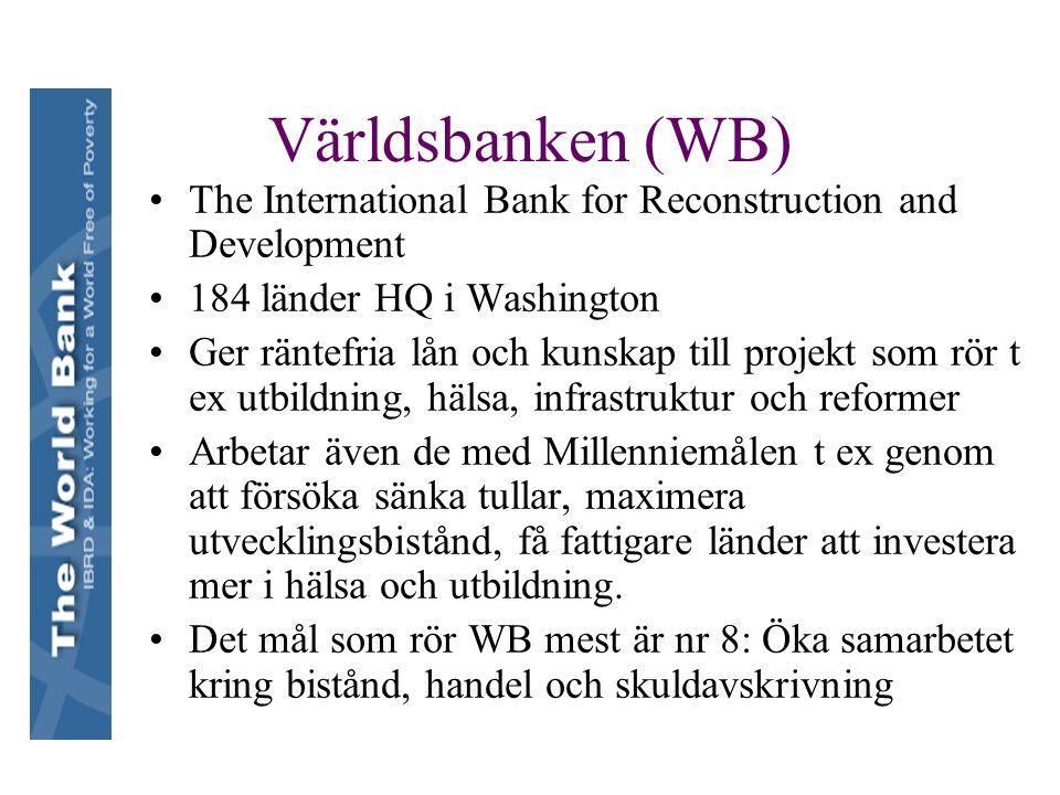 Världsbanken (WB) The International Bank for Reconstruction and Development 184 länder HQ i Washington Ger räntefria lån och kunskap till projekt som