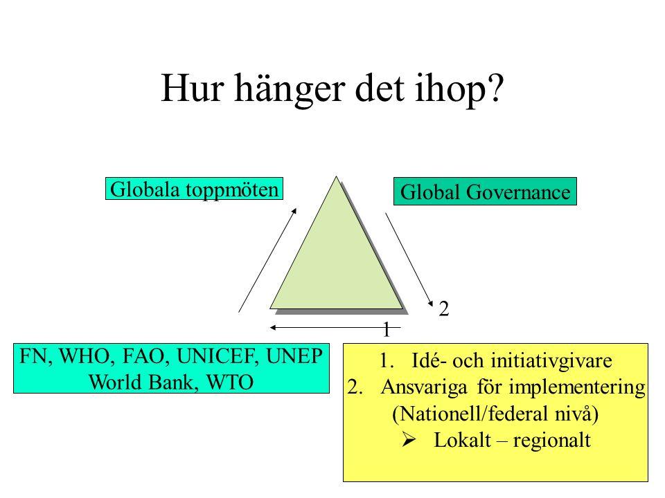 Hur hänger det ihop? Globala toppmöten Global Governance FN, WHO, FAO, UNICEF, UNEP World Bank, WTO 1.Idé- och initiativgivare 2.Ansvariga för impleme