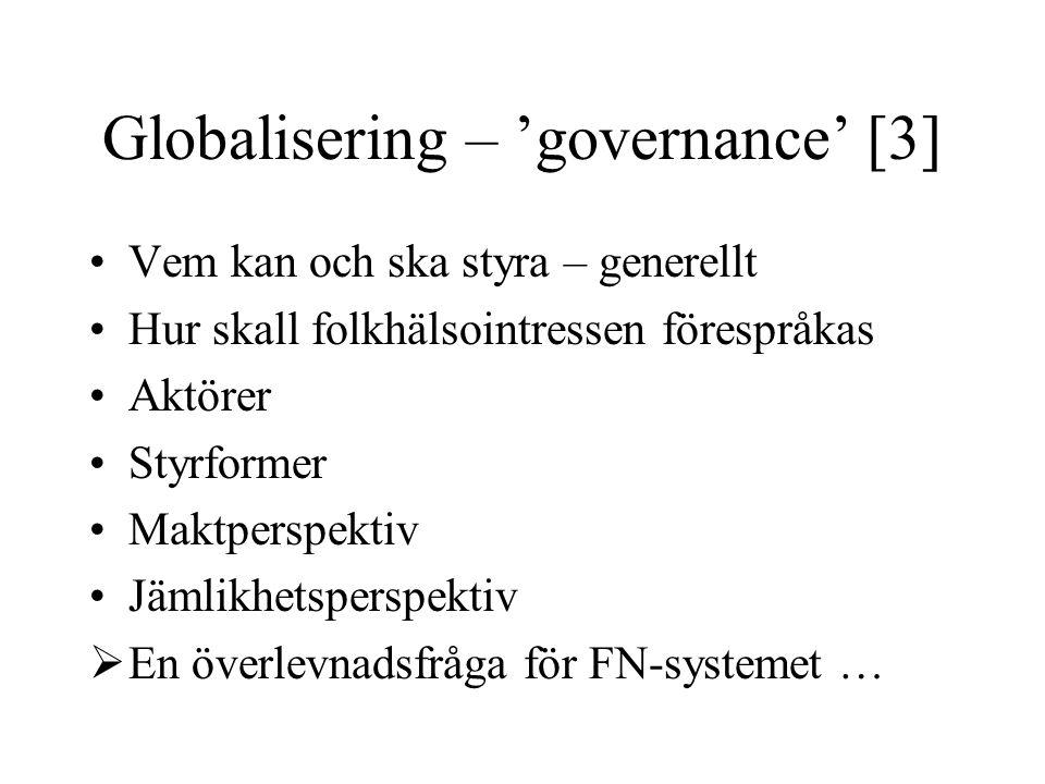 Globalisering – 'governance' [3] Vem kan och ska styra – generellt Hur skall folkhälsointressen förespråkas Aktörer Styrformer Maktperspektiv Jämlikhe