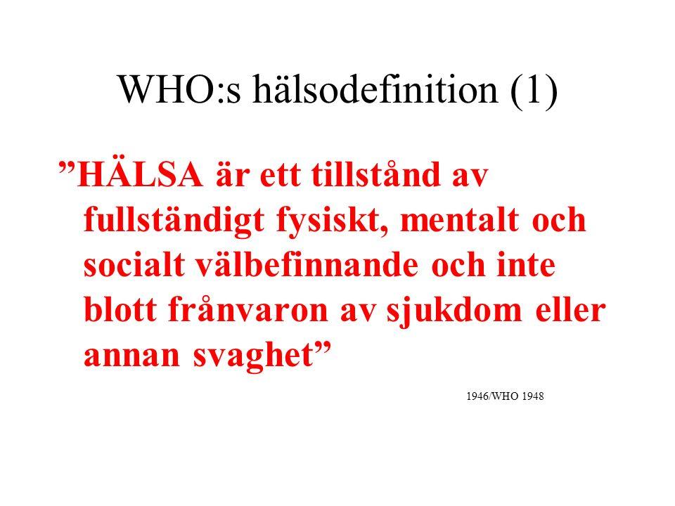 """WHO:s hälsodefinition (1) """"HÄLSA är ett tillstånd av fullständigt fysiskt, mentalt och socialt välbefinnande och inte blott frånvaron av sjukdom eller"""