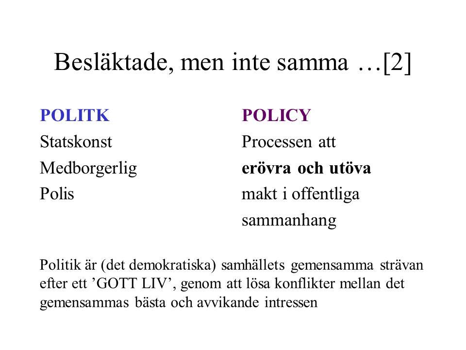 Besläktade, men inte samma …[2] POLITK Statskonst Medborgerlig Polis POLICY Processen att erövra och utöva makt i offentliga sammanhang Politik är (de