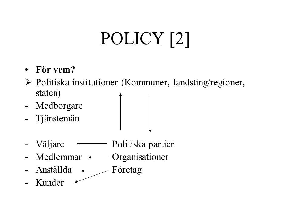 POLICY [2] För vem?  Politiska institutioner (Kommuner, landsting/regioner, staten) -Medborgare -Tjänstemän -VäljarePolitiska partier -MedlemmarOrgan