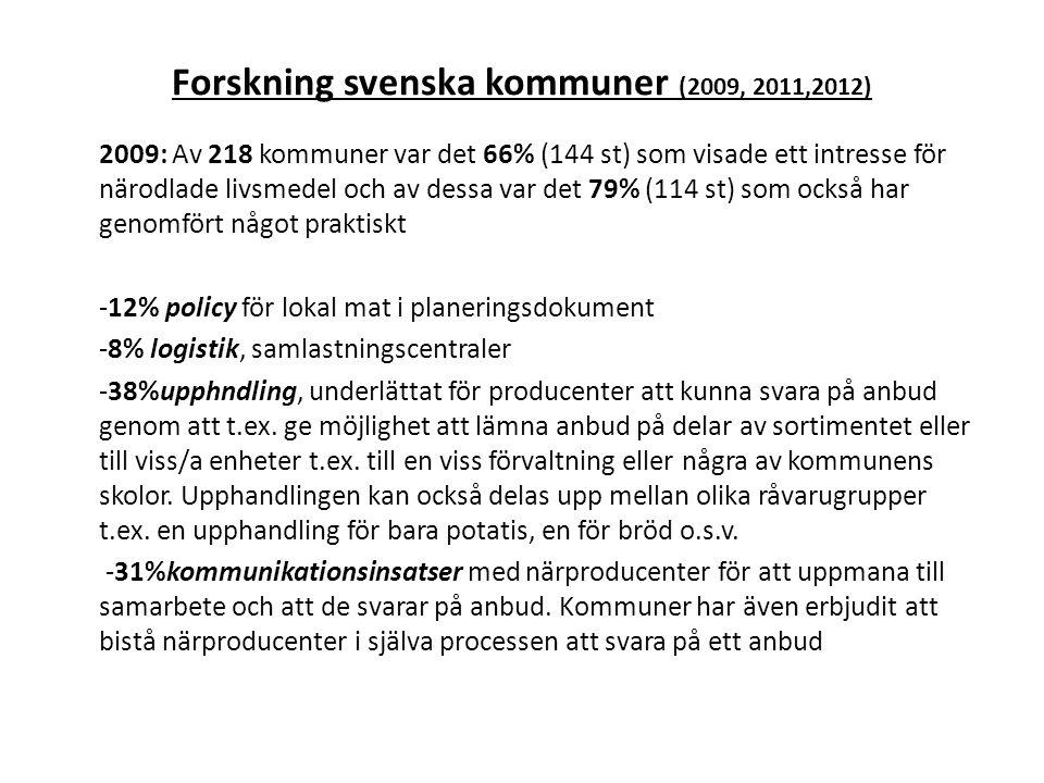 Forskning svenska kommuner (2009, 2011,2012) 2009: Av 218 kommuner var det 66% (144 st) som visade ett intresse för närodlade livsmedel och av dessa v