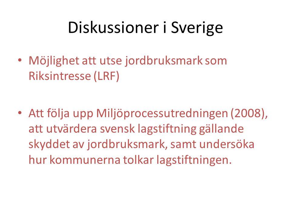 Diskussioner i Sverige Möjlighet att utse jordbruksmark som Riksintresse (LRF) Att följa upp Miljöprocessutredningen (2008), att utvärdera svensk lags
