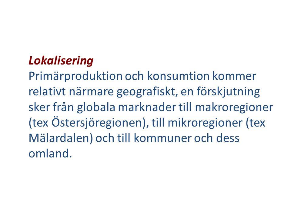 Lokalisering Primärproduktion och konsumtion kommer relativt närmare geografiskt, en förskjutning sker från globala marknader till makroregioner (tex