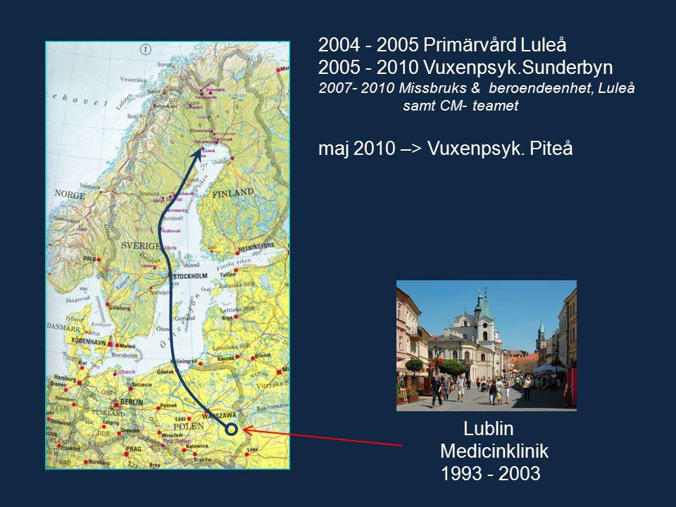 Lublin Medicinklinik 1993 - 2003 2004 - 2005 Primärvård Luleå 2005 - 2010 Vuxenpsyk.Sunderbyn 2007- 2010 Missbruks & beroendeenhet, Luleå samt CM- teamet maj 2010 –> Vuxenpsyk.