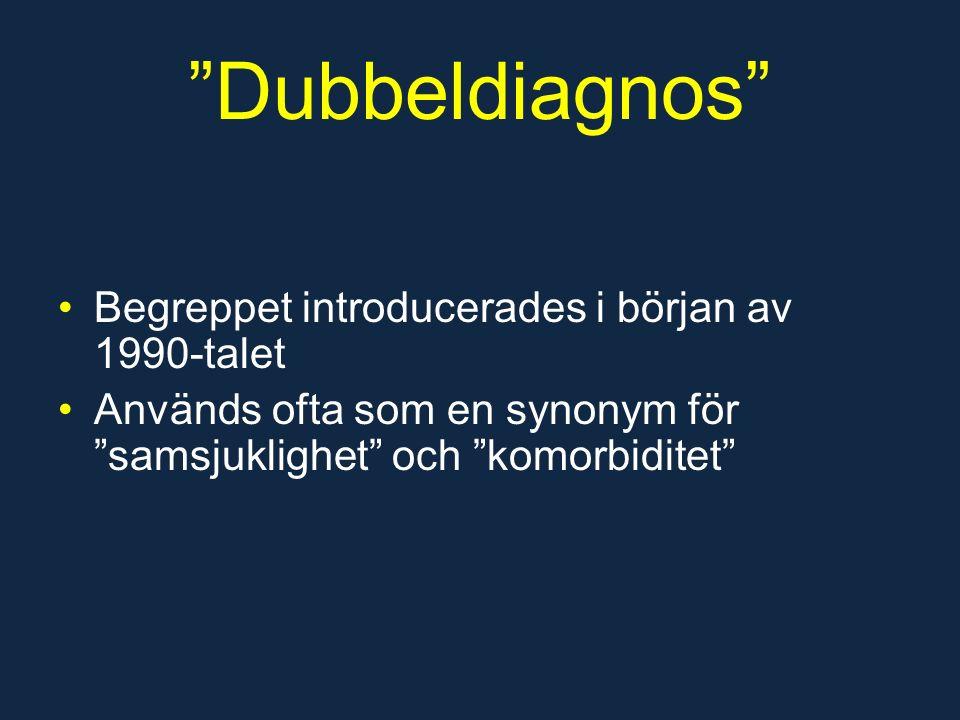 Dubbeldiagnos Begreppet introducerades i början av 1990-talet Används ofta som en synonym för samsjuklighet och komorbiditet