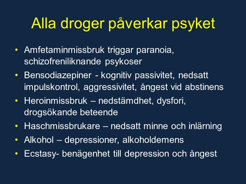 Alla droger påverkar psyket Amfetaminmissbruk triggar paranoia, schizofreniliknande psykoser Bensodiazepiner - kognitiv passivitet, nedsatt impulskontrol, aggressivitet, ångest vid abstinens Heroinmissbruk – nedstämdhet, dysfori, drogsökande beteende Haschmissbrukare – nedsatt minne och inlärning Alkohol – depressioner, alkoholdemens Ecstasy- benägenhet till depression och ångest