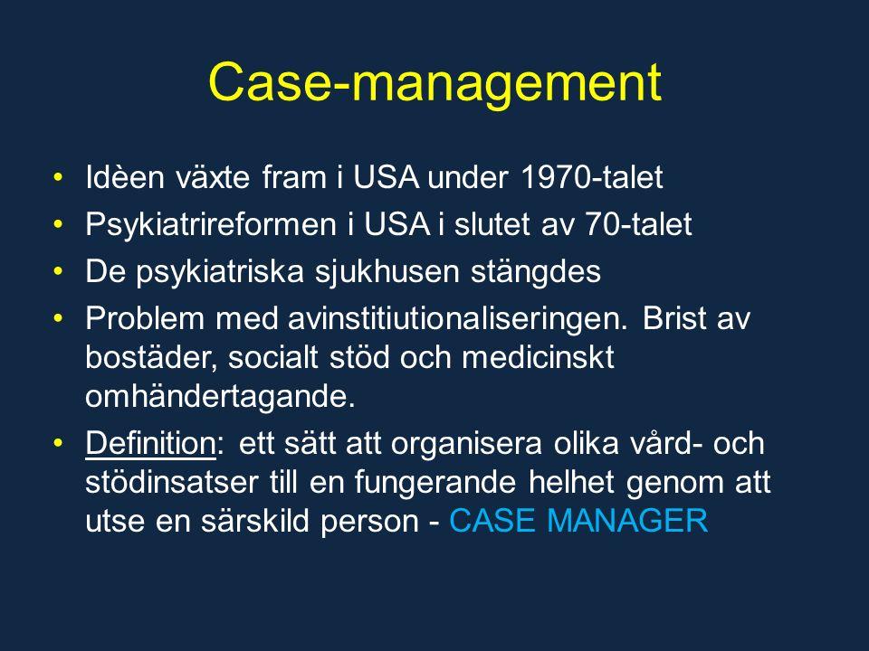 Case-management Idèen växte fram i USA under 1970-talet Psykiatrireformen i USA i slutet av 70-talet De psykiatriska sjukhusen stängdes Problem med avinstitiutionaliseringen.