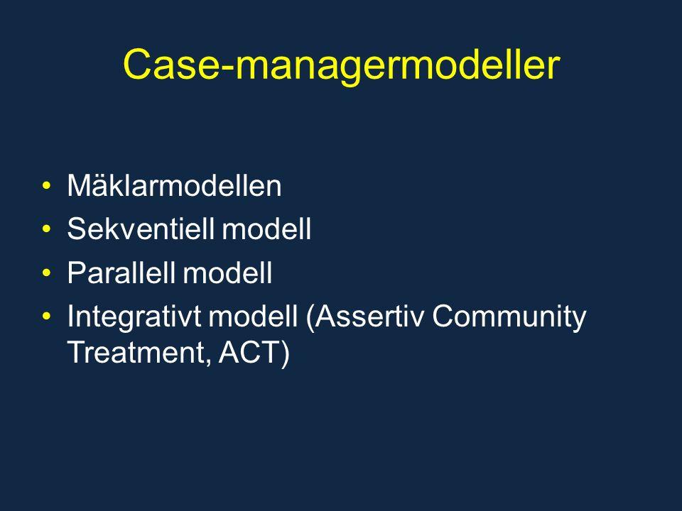 Case-managermodeller Mäklarmodellen Sekventiell modell Parallell modell Integrativt modell (Assertiv Community Treatment, ACT)