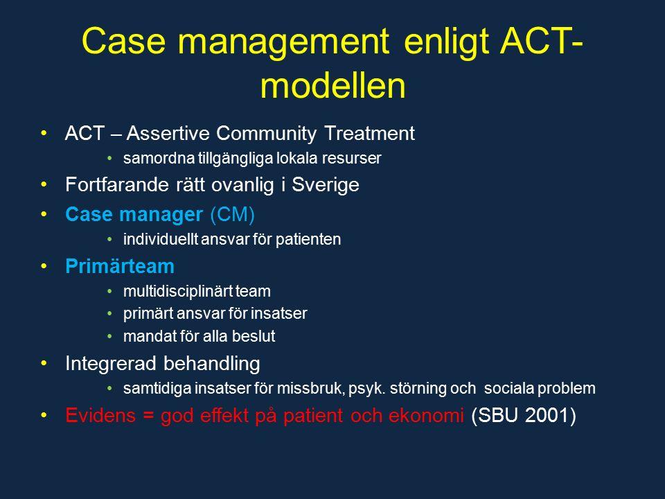 Case management enligt ACT- modellen ACT – Assertive Community Treatment samordna tillgängliga lokala resurser Fortfarande rätt ovanlig i Sverige Case manager (CM) individuellt ansvar för patienten Primärteam multidisciplinärt team primärt ansvar för insatser mandat för alla beslut Integrerad behandling samtidiga insatser för missbruk, psyk.