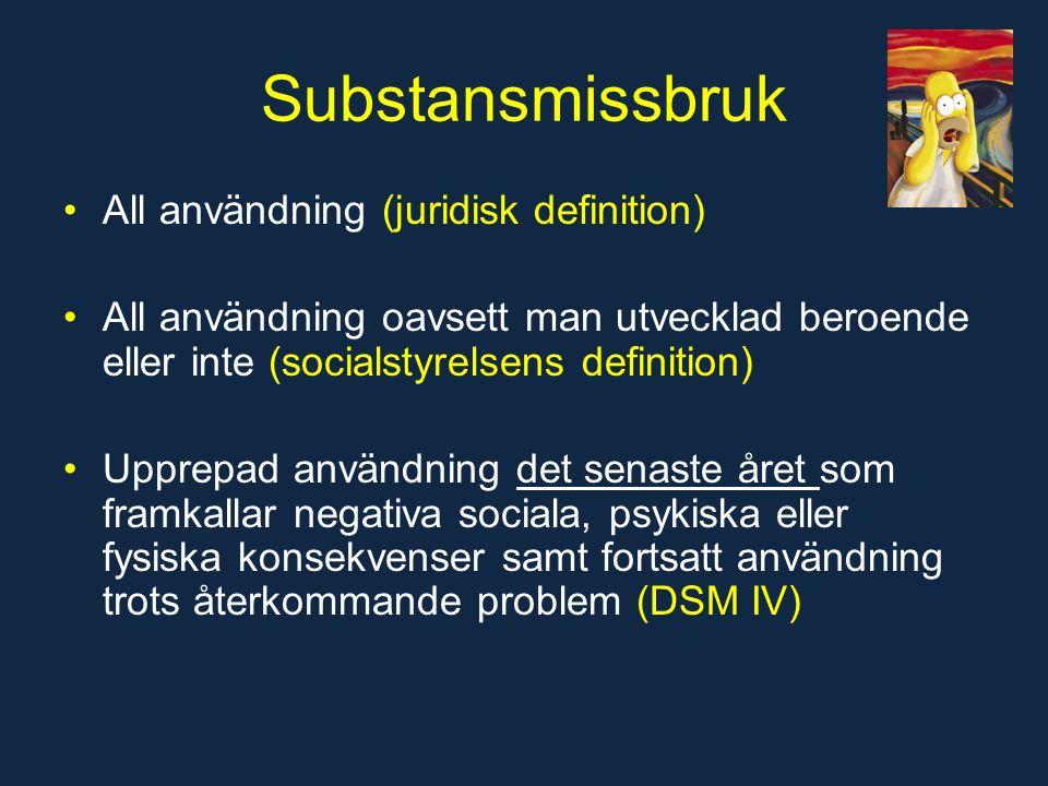 Substansmissbruk All användning (juridisk definition) All användning oavsett man utvecklad beroende eller inte (socialstyrelsens definition) Upprepad användning det senaste året som framkallar negativa sociala, psykiska eller fysiska konsekvenser samt fortsatt användning trots återkommande problem (DSM IV)