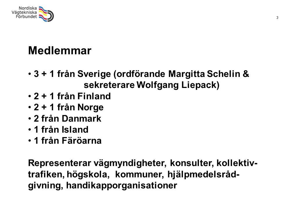 3 Medlemmar 3 + 1 från Sverige (ordförande Margitta Schelin & sekreterare Wolfgang Liepack) 2 + 1 från Finland 2 + 1 från Norge 2 från Danmark 1 från
