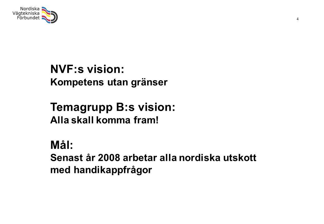 4 NVF:s vision: Kompetens utan gränser Temagrupp B:s vision: Alla skall komma fram! Mål: Senast år 2008 arbetar alla nordiska utskott med handikappfrå