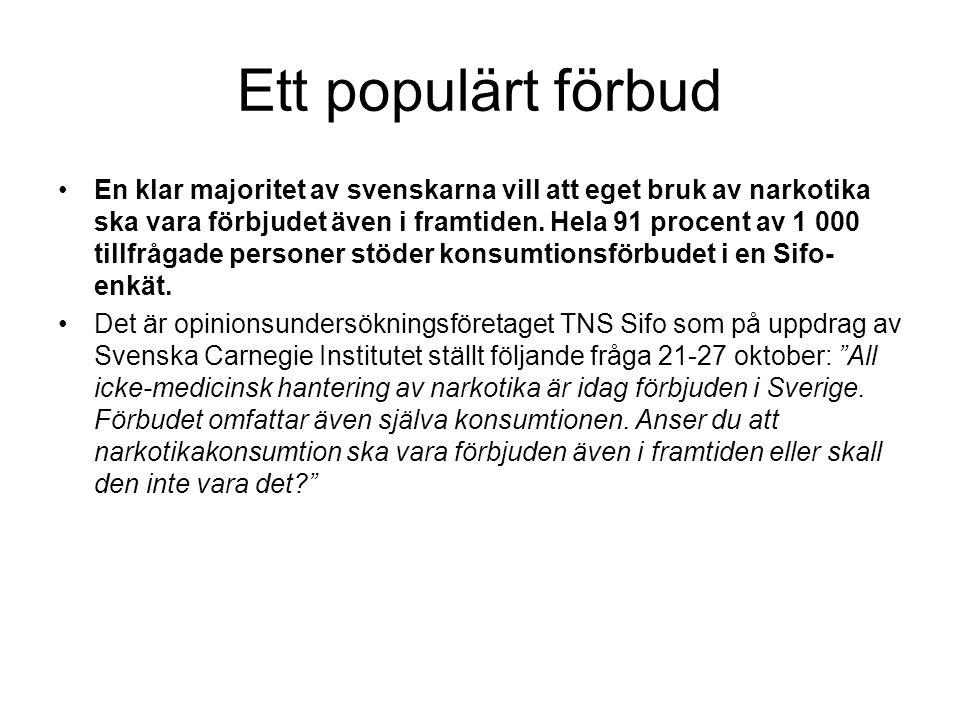 Ett populärt förbud En klar majoritet av svenskarna vill att eget bruk av narkotika ska vara förbjudet även i framtiden. Hela 91 procent av 1 000 till
