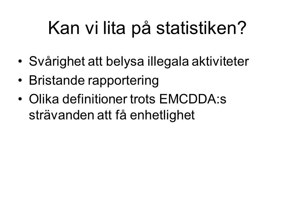 Kan vi lita på statistiken? Svårighet att belysa illegala aktiviteter Bristande rapportering Olika definitioner trots EMCDDA:s strävanden att få enhet