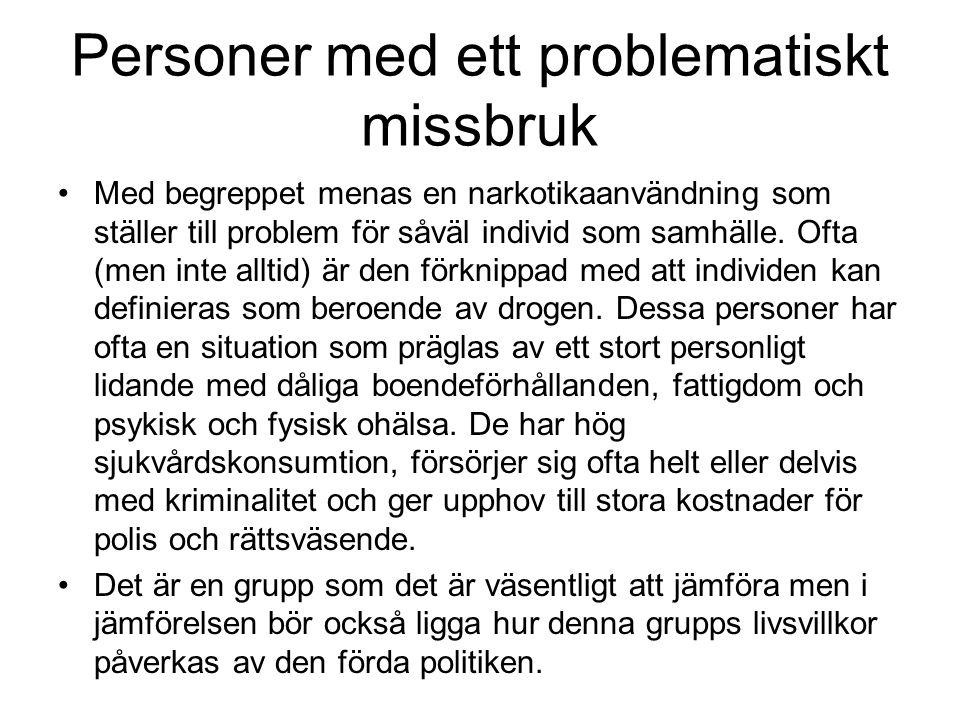 Personer med ett problematiskt missbruk Med begreppet menas en narkotikaanvändning som ställer till problem för såväl individ som samhälle. Ofta (men
