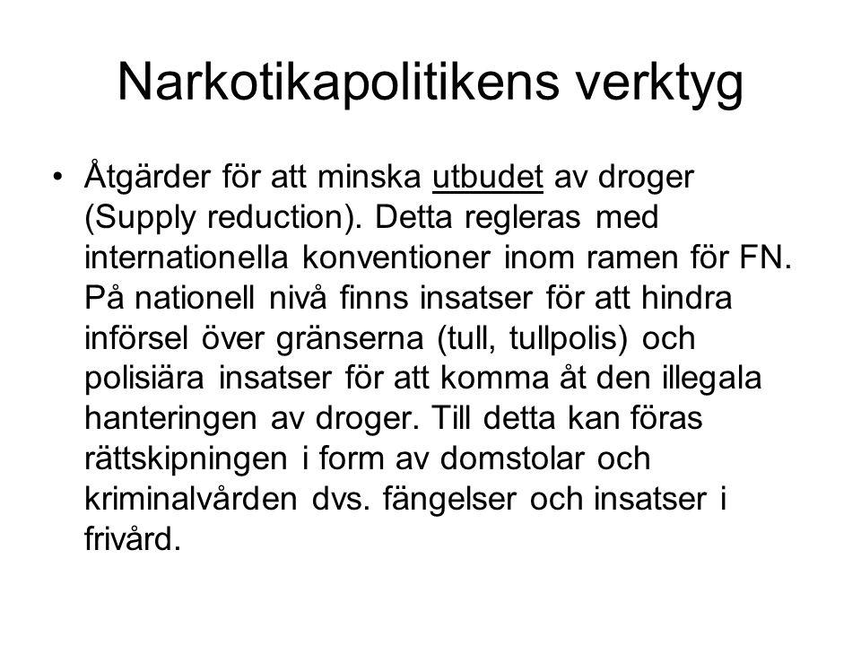 Narkotikapolitikens verktyg Åtgärder för att minska utbudet av droger (Supply reduction). Detta regleras med internationella konventioner inom ramen f