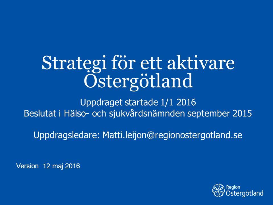 Region Östergötland Strategi för ett aktivare Östergötland Uppdraget startade 1/1 2016 Beslutat i Hälso- och sjukvårdsnämnden september 2015 Uppdragsledare: Matti.leijon@regionostergotland.se Version 12 maj 2016