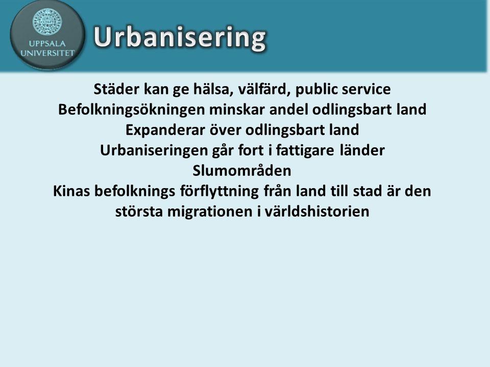 Städer kan ge hälsa, välfärd, public service Befolkningsökningen minskar andel odlingsbart land Expanderar över odlingsbart land Urbaniseringen går fort i fattigare länder Slumområden Kinas befolknings förflyttning från land till stad är den största migrationen i världshistorien