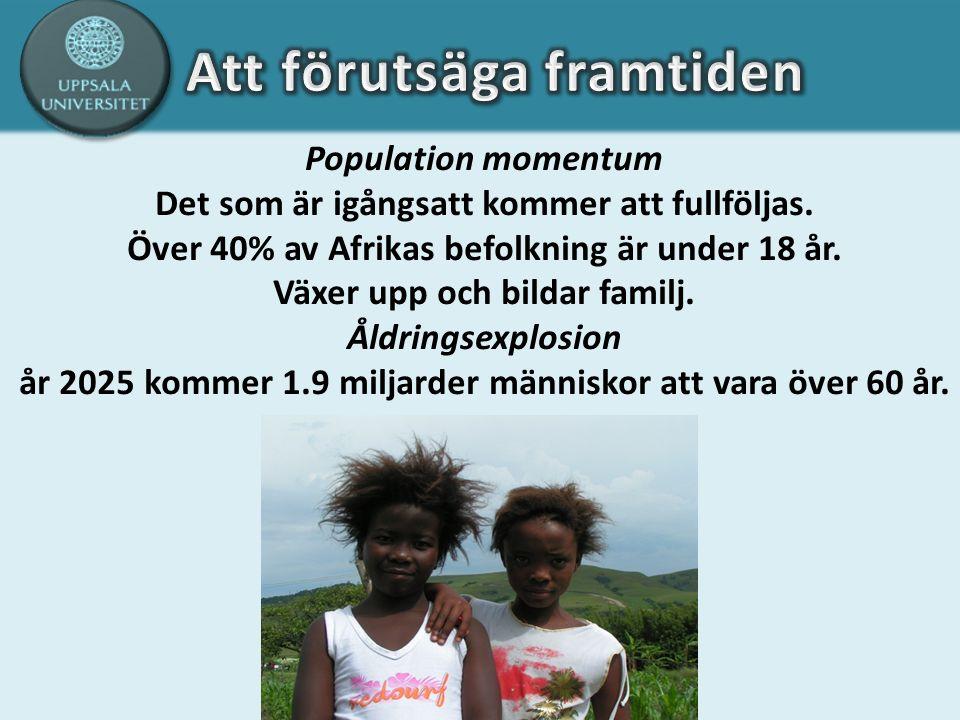 Population momentum Det som är igångsatt kommer att fullföljas. Över 40% av Afrikas befolkning är under 18 år. Växer upp och bildar familj. Åldringsex