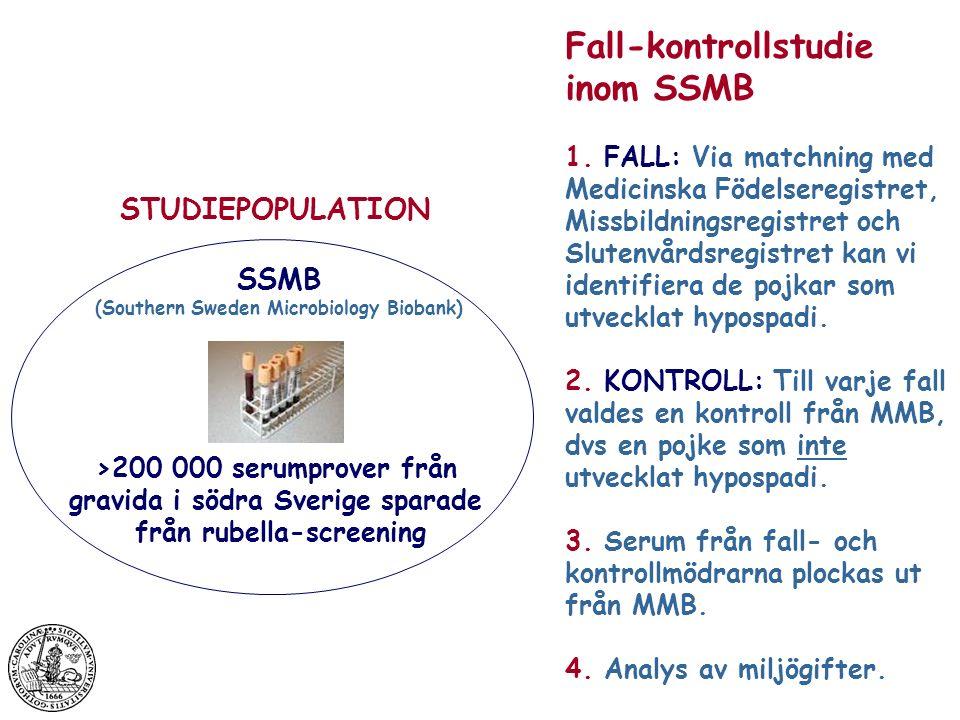 SSMB (Southern Sweden Microbiology Biobank) >200 000 serumprover från gravida i södra Sverige sparade från rubella-screening STUDIEPOPULATION Fall-kontrollstudie inom SSMB 1.
