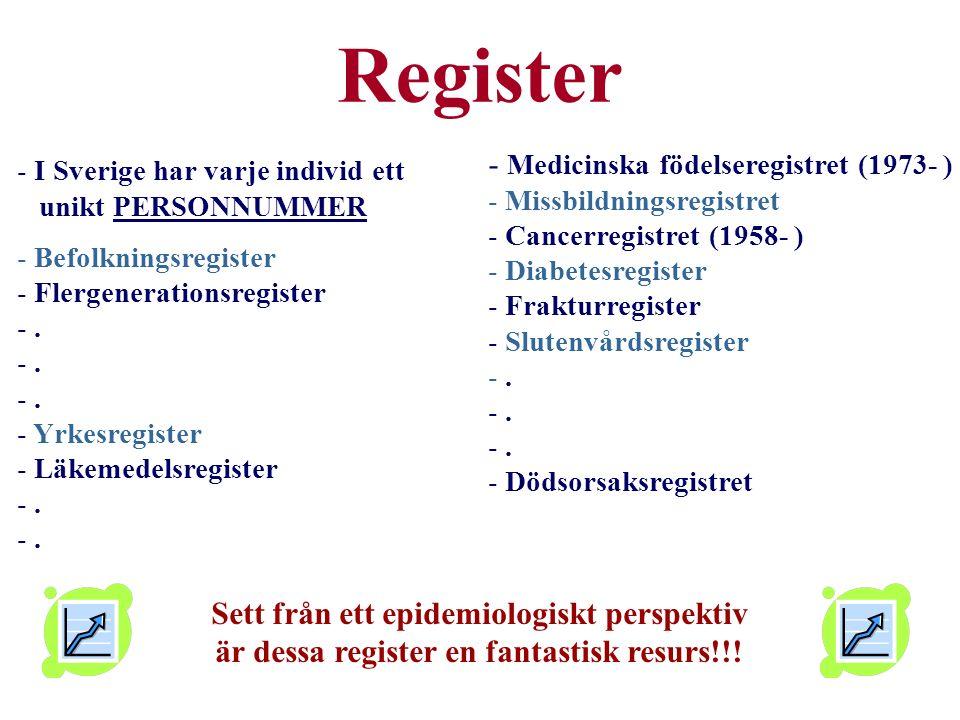 - Medicinska födelseregistret (1973- ) - Missbildningsregistret - Cancerregistret (1958- ) - Diabetesregister - Frakturregister - Slutenvårdsregister -.