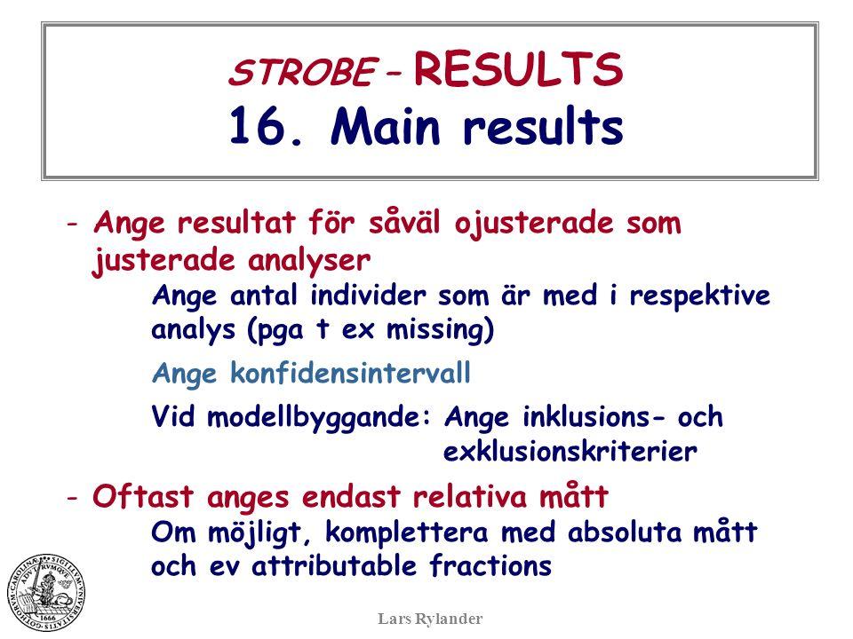 STROBE – RESULTS 16.