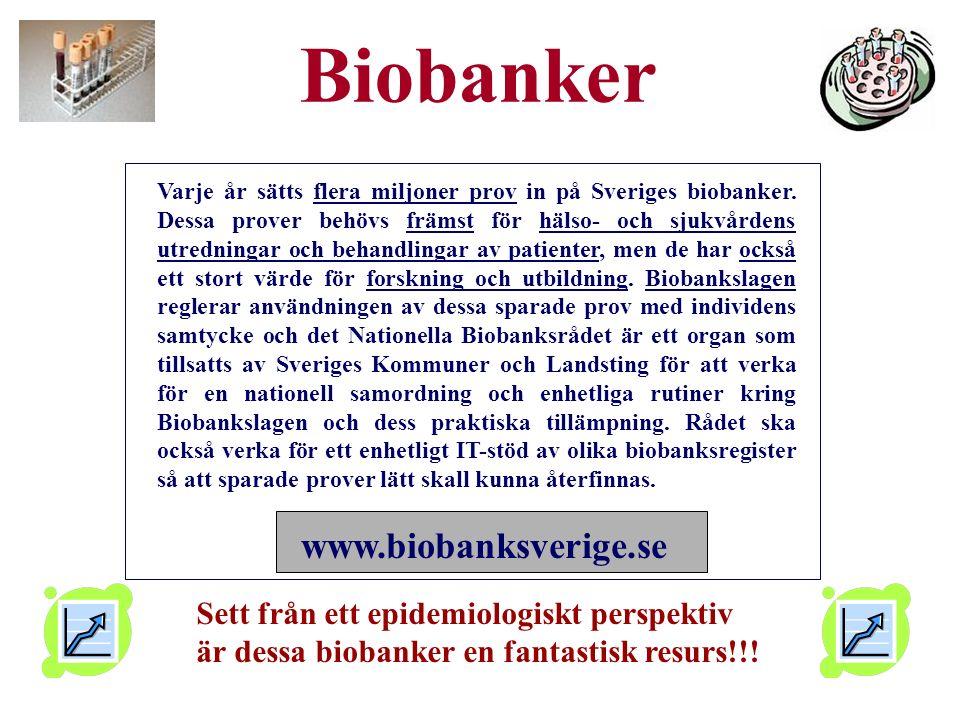 Biobanker Varje år sätts flera miljoner prov in på Sveriges biobanker.