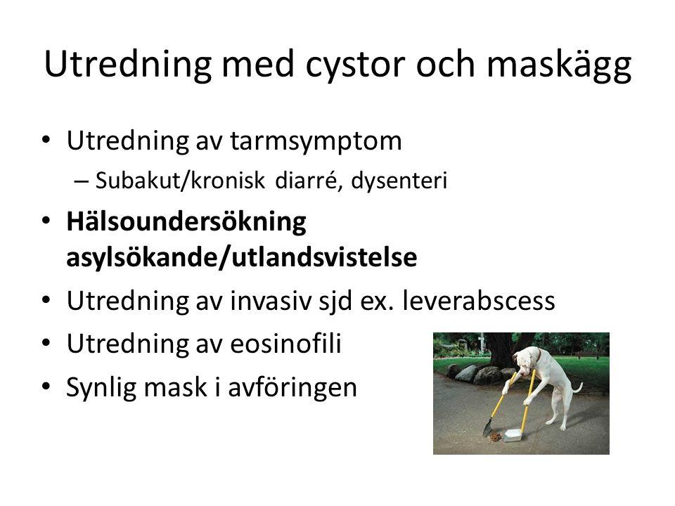 Utredning med cystor och maskägg Utredning av tarmsymptom – Subakut/kronisk diarré, dysenteri Hälsoundersökning asylsökande/utlandsvistelse Utredning av invasiv sjd ex.