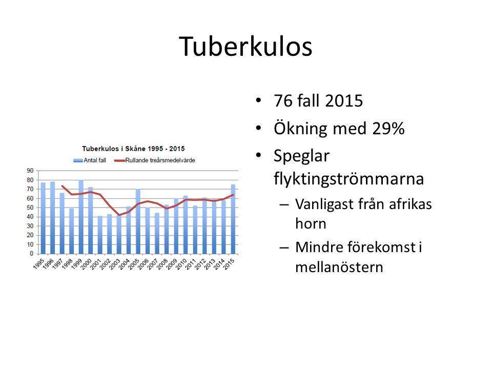 Tuberkulos 76 fall 2015 Ökning med 29% Speglar flyktingströmmarna – Vanligast från afrikas horn – Mindre förekomst i mellanöstern