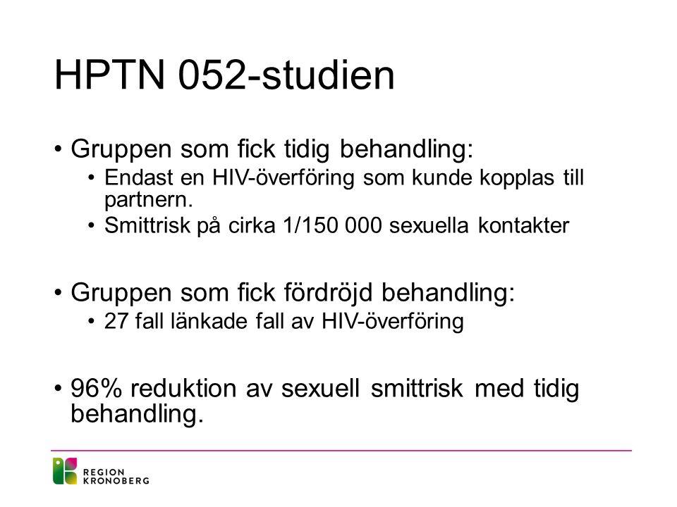 HPTN 052-studien Gruppen som fick tidig behandling: Endast en HIV-överföring som kunde kopplas till partnern.