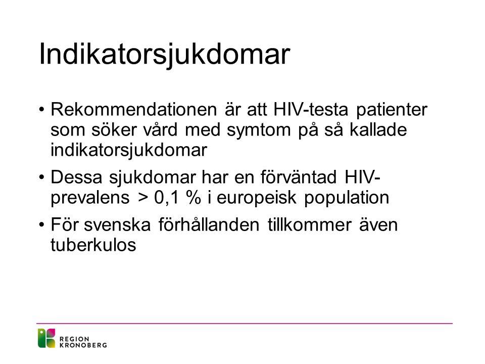 Indikatorsjukdomar Rekommendationen är att HIV-testa patienter som söker vård med symtom på så kallade indikatorsjukdomar Dessa sjukdomar har en förväntad HIV- prevalens > 0,1 % i europeisk population För svenska förhållanden tillkommer även tuberkulos