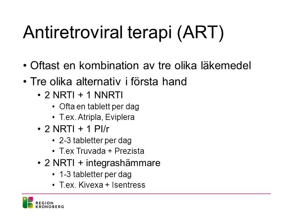 Antiretroviral terapi (ART) Oftast en kombination av tre olika läkemedel Tre olika alternativ i första hand 2 NRTI + 1 NNRTI Ofta en tablett per dag T.ex.