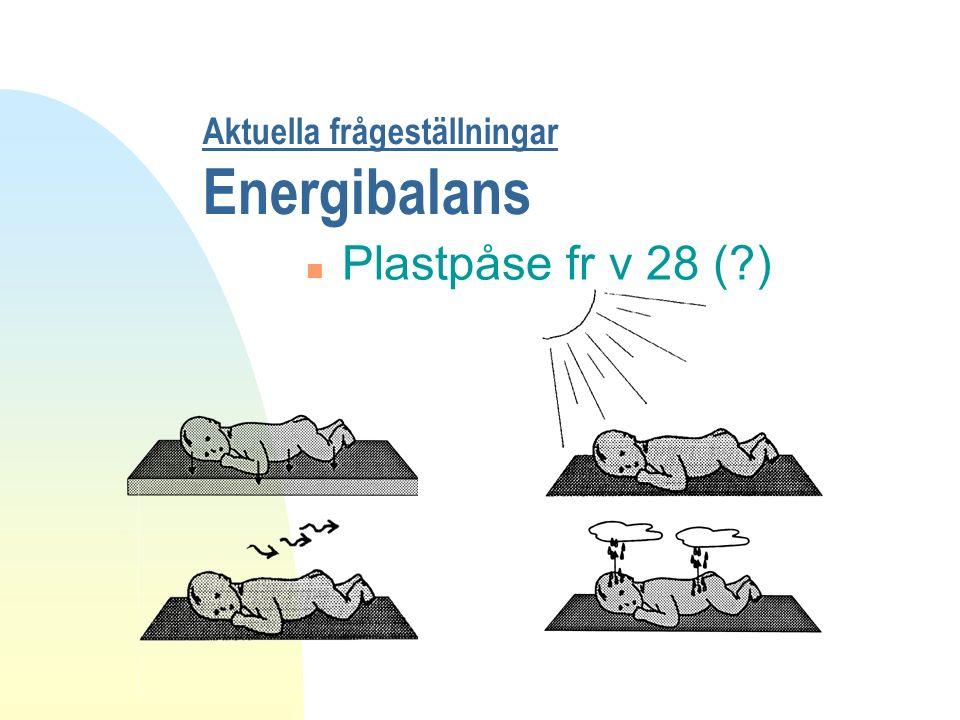 Aktuella frågeställningar Energibalans n Plastpåse fr v 28 (?)