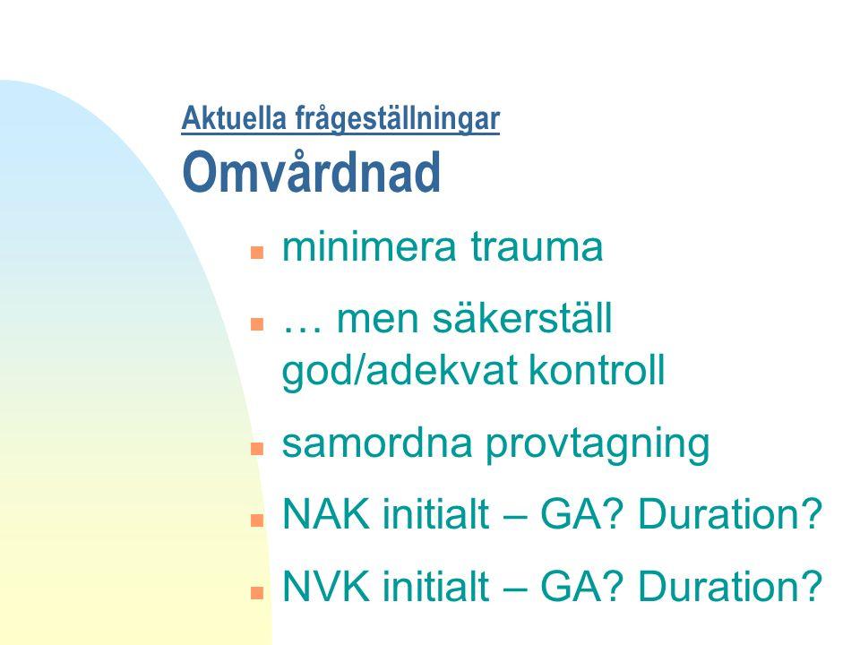 Aktuella frågeställningar Omvårdnad n minimera trauma n … men säkerställ god/adekvat kontroll n samordna provtagning n NAK initialt – GA.