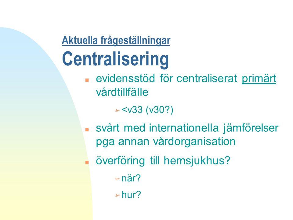 Aktuella frågeställningar Centralisering n evidensstöd för centraliserat primärt vårdtillfälle F <v33 (v30?) n svårt med internationella jämförelser pga annan vårdorganisation n överföring till hemsjukhus.