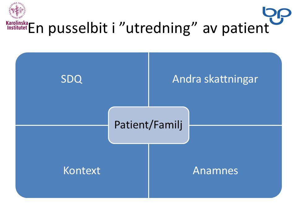 En pusselbit i utredning av patient SDQAndra skattningar KontextAnamnes Patient/Familj