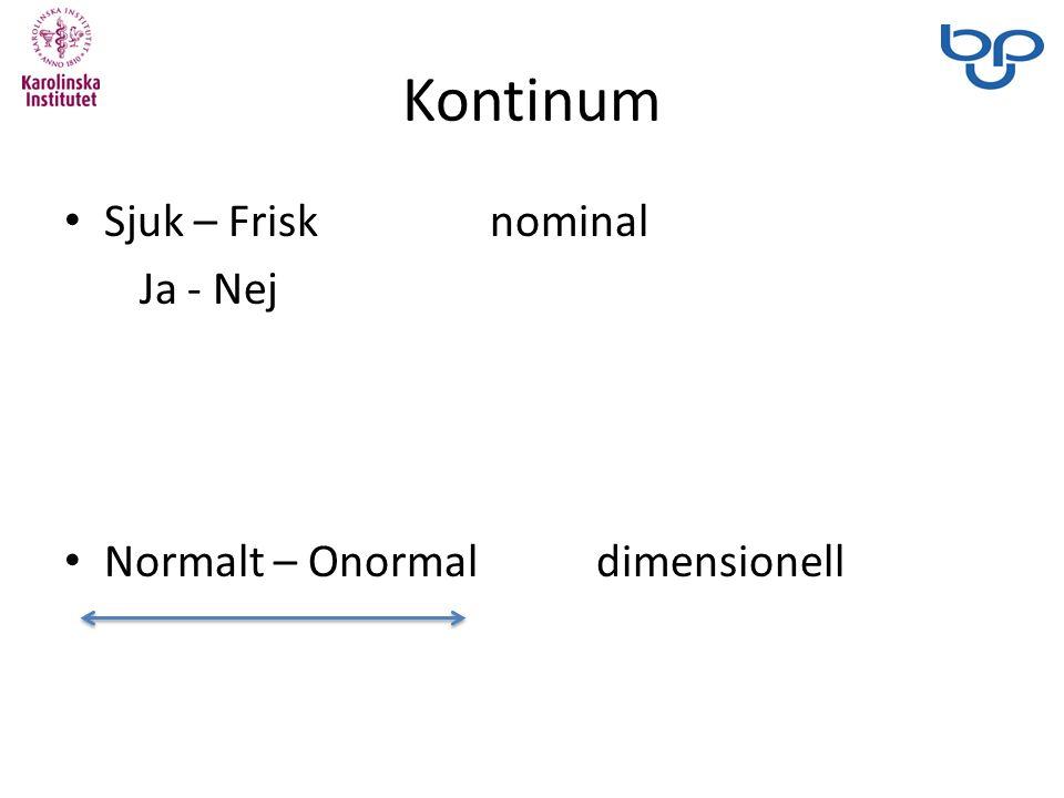 Kontinum Sjuk – Frisknominal Ja - Nej Normalt – Onormaldimensionell