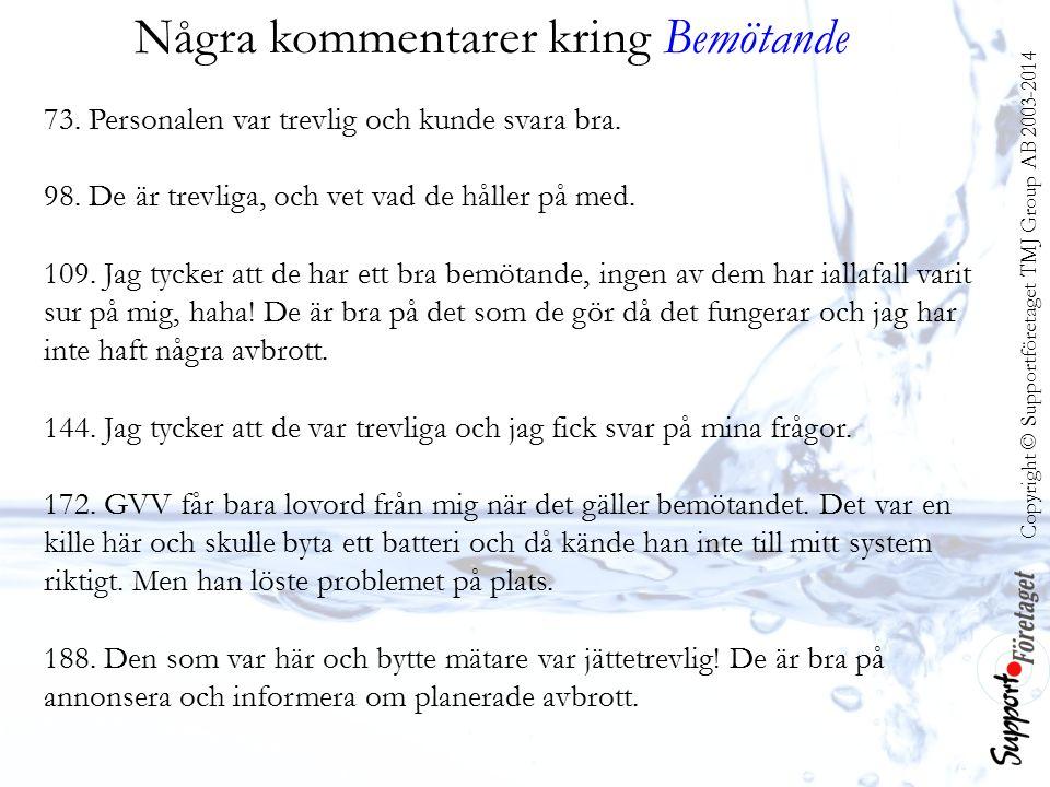 Copyright © Supportföretaget TMJ Group AB 2003-2014 Några kommentarer kring Bemötande 73.