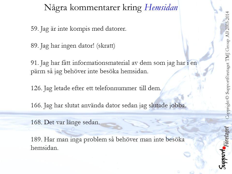Copyright © Supportföretaget TMJ Group AB 2003-2014 Några kommentarer kring Hemsidan 59.