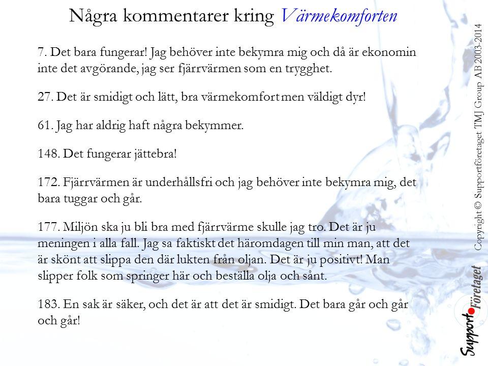 Copyright © Supportföretaget TMJ Group AB 2003-2014 Några kommentarer kring Värmekomforten 7.