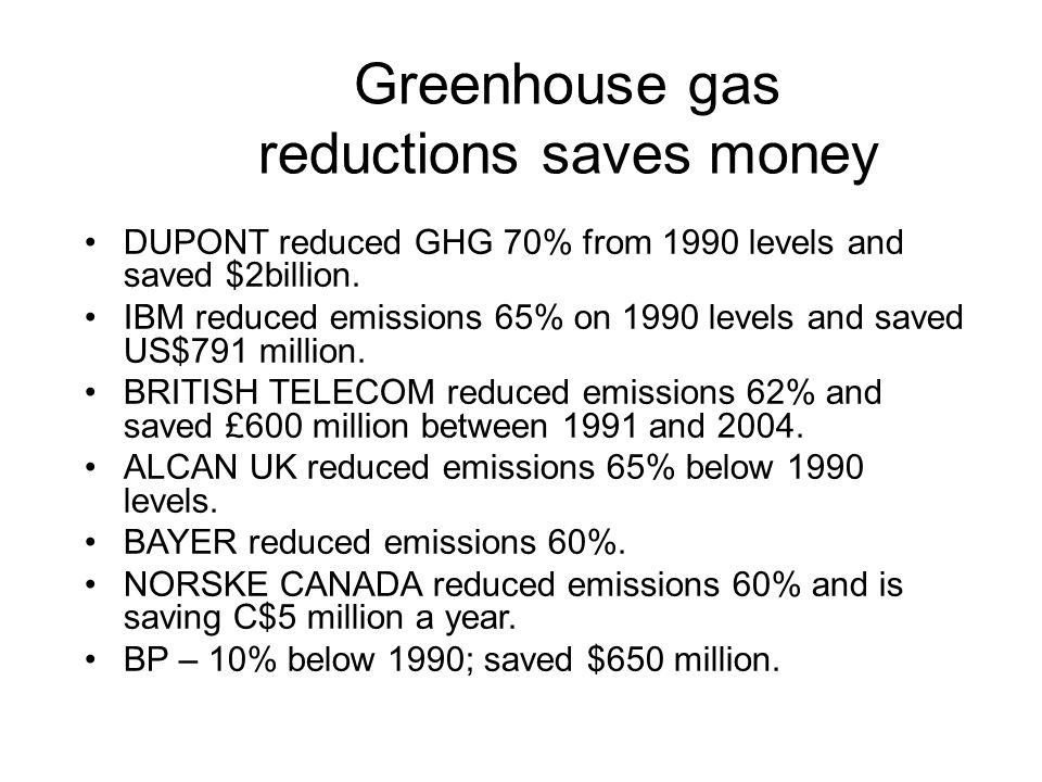 Greenhouse gas reductions saves money DUPONT reduced GHG 70% from 1990 levels and saved $2billion.
