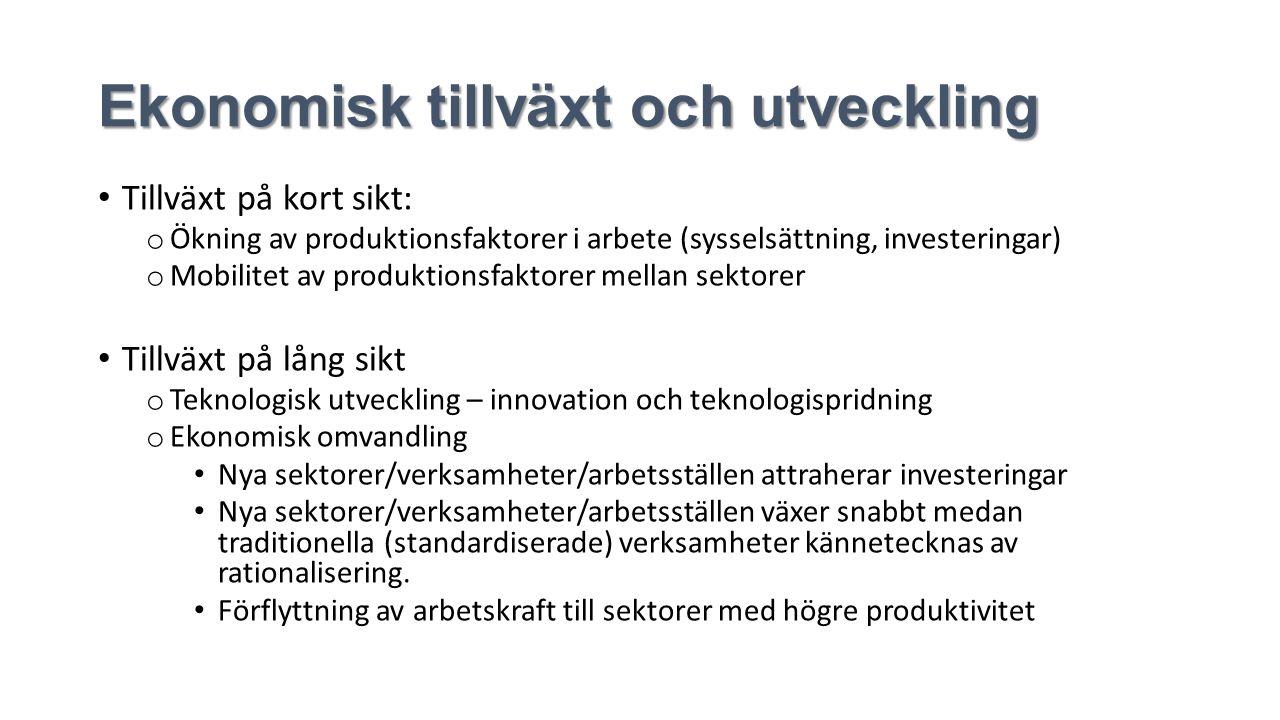 Ekonomisk tillväxt och utveckling Tillväxt på kort sikt: o Ökning av produktionsfaktorer i arbete (sysselsättning, investeringar) o Mobilitet av produktionsfaktorer mellan sektorer Tillväxt på lång sikt o Teknologisk utveckling – innovation och teknologispridning o Ekonomisk omvandling Nya sektorer/verksamheter/arbetsställen attraherar investeringar Nya sektorer/verksamheter/arbetsställen växer snabbt medan traditionella (standardiserade) verksamheter kännetecknas av rationalisering.